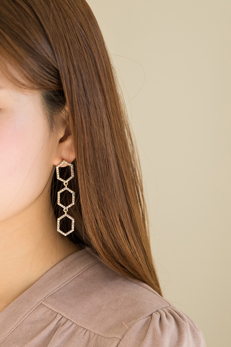 [Bling the day]six angle drop earring